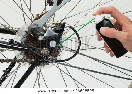 Person Hands Lubricating Bike