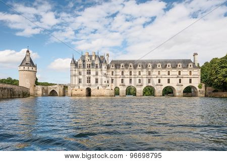 Chenonceau castle built over the Cher river, Loire Valley,France