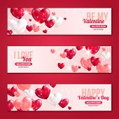 picture of valentines  - Valentines Day Horizontal Banners Set with Hearts for Holiday Design - JPG