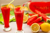 pic of watermelon slices  - Watermelon smoothies with lemon and watermelon slices - JPG