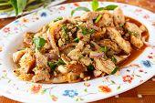 picture of thai cuisine  - Thai cuisine spicy pork salad Moo Nam Tok. ** Note: Shallow depth of field - JPG