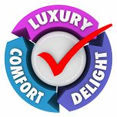 stock photo of comfort  - Luxury Comfort and Delight arrows and check mark to illustrate a product - JPG