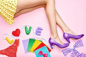 stock photo of flirty  - Fashion creative flirty funny vivid set - JPG