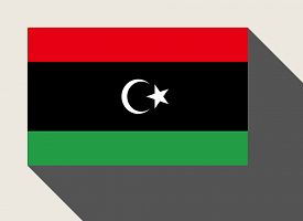 stock photo of libya  - Libya flag in flat web design style - JPG
