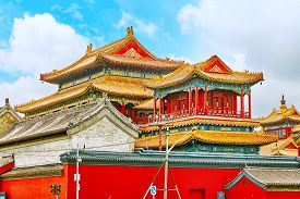 stock photo of lamas  - Beautiful View of Yonghegong Lama Temple - JPG