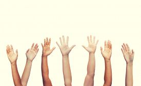image of waving hands  - gesture and body parts concept  - JPG