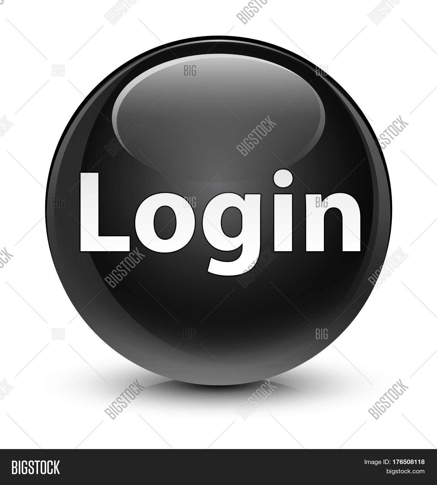 Login Glassy Black Round Button Image & Photo | Bigstock