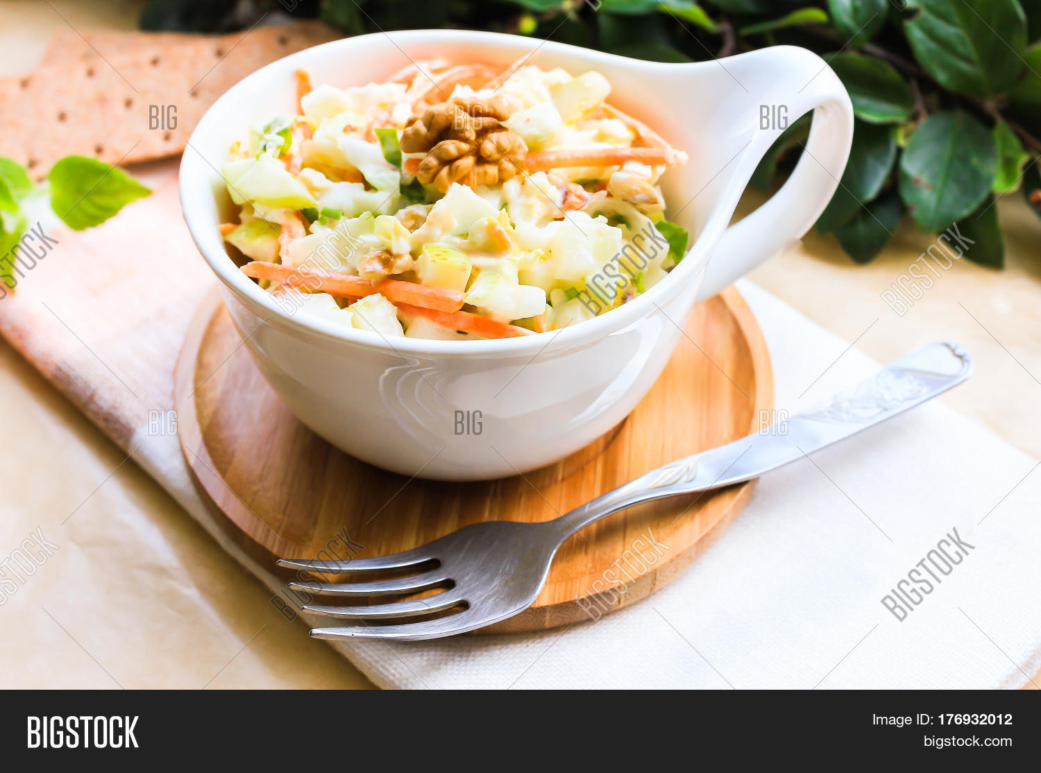Fresh coleslaw salad with white cabbage, carrot, apples ...