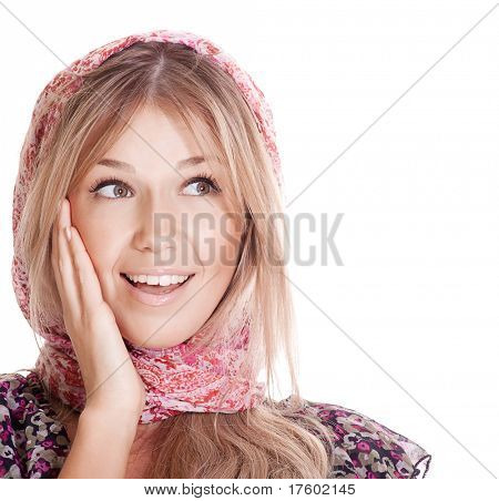 Young beautiful woman surprice and looking on copyspace
