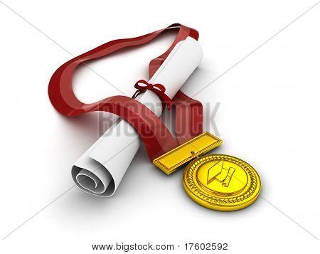 3D Illustration of a Diploma and Medal Huddled Together