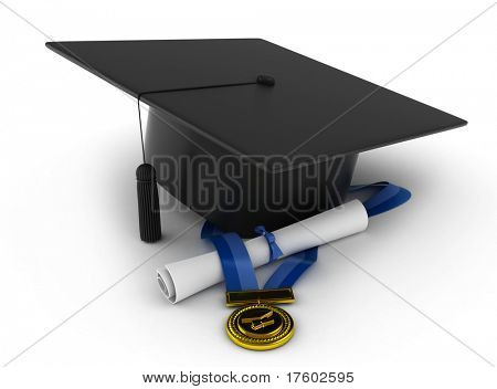 3D Illustration of a Graduation Cap, Ribbon, and Diploma