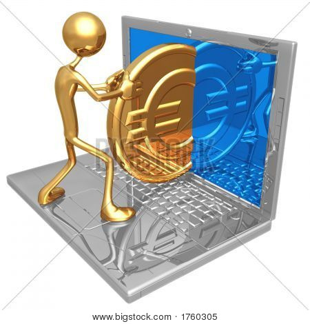 Sending Receiving A Gold Euro Coin Through The Internet On A Laptop