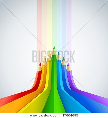 abstract art background with line of colour pencil as rainbow vector illustration