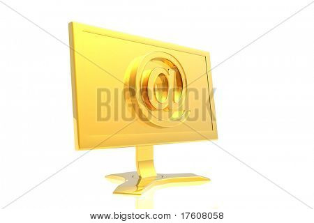 golden monitor and email sign isolated over white background