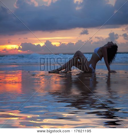 sexy woman on the sunset