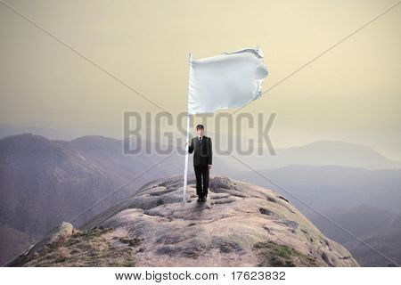 Hombre de negocios que se hunde una bandera en la cima de una montaña