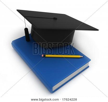 3D Illustration of Graduation Cap Book and Pencil