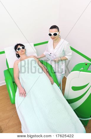 laser depilation and skincare treatment in spa and beauty studio
