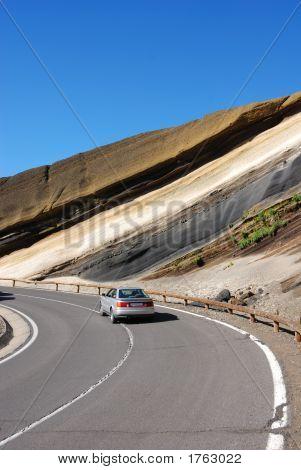 Road Through Volcanic Landscape