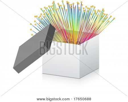 open box with optical fiber inside
