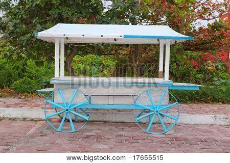 Ice cream hot dogs cart white blue in Caribbean island Isla Mujeres Mexico