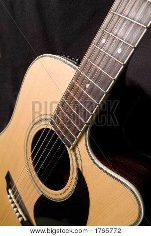Front Of Acoustic Guitar With Cut Away