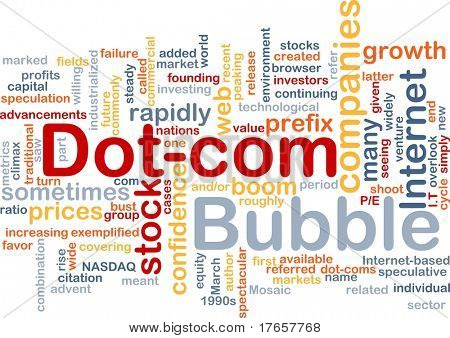Background concept wordcloud illustration of dot-com bubble