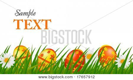 Row of Easter Eggs with Daisy on Fresh Green Grass. Vector illustration.