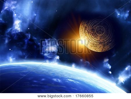 Horizontal background with Maya calendar and Earth