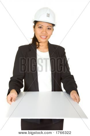 Female Architect Showing Her Project