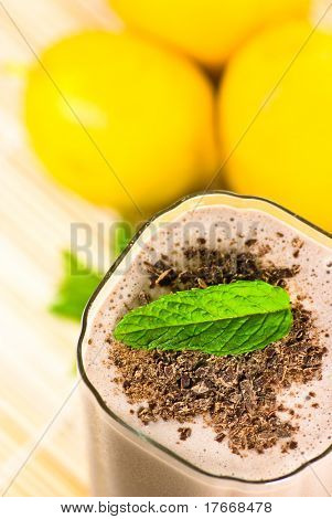 milk chocolate shake with mint