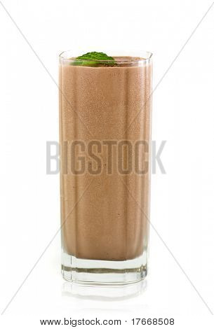 milk chocolate shake on white background