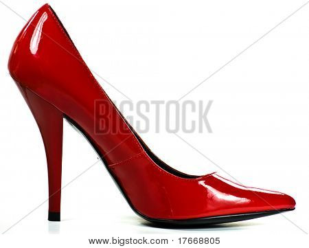 red heel on white background