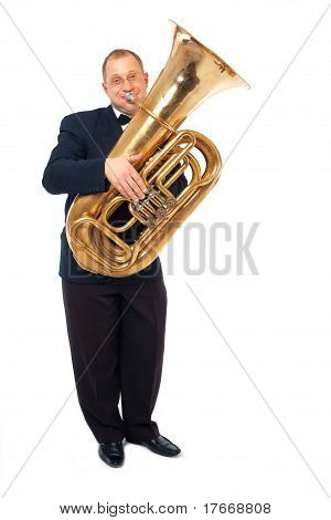 Musician Playing The Tuba