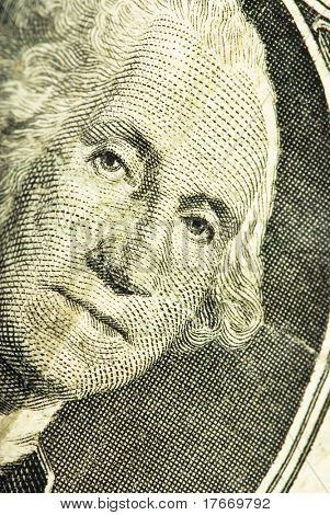 Washington face on dollar closeup