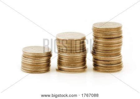 Three Stacks Of Coins