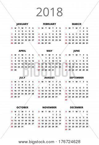 vertical calendar 2018