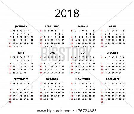 2018 year calendar horizontal vector photo bigstock. Black Bedroom Furniture Sets. Home Design Ideas