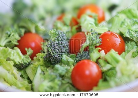 Fresh broccoli and tomato salad, Macro closeup, shallow DOF.