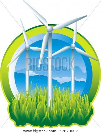 green windmills providing power to city