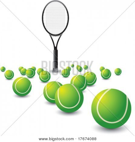 Scattered tennis balls and racket