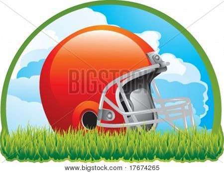 football helmet on grass with cloud background