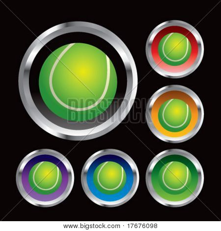multiple colored round metal  tennis balls