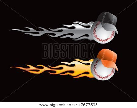 silver and gold flaming baseballs with hats