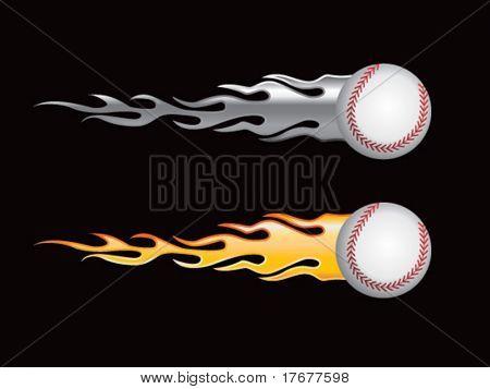 silver and gold flaming baseballs