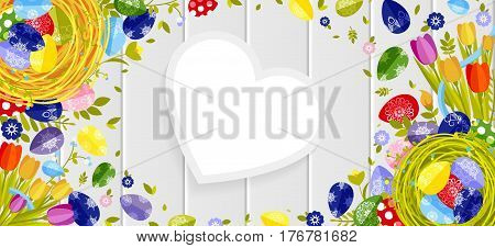 Stock vector illustration Happy Easter background colored eggs, spring decoration, leave, tulip flower design element in flat style for printed material, postcard, greeting, festive card banner, flyer