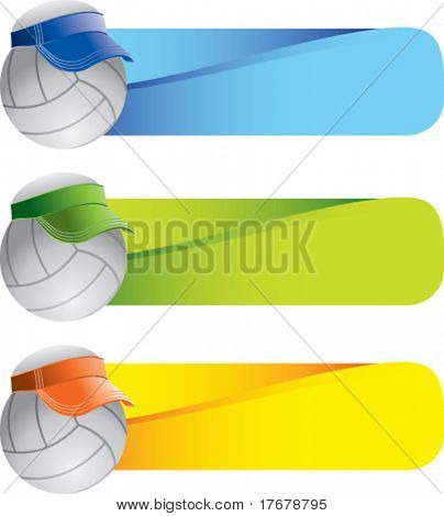 volleyball with visor on colored banners