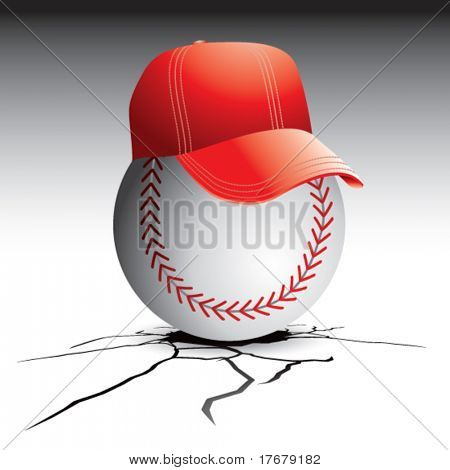 cracked floor with baseball and hat