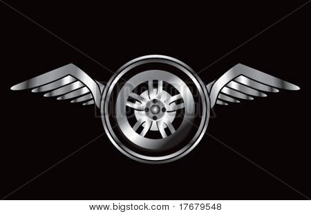 winged icon with tire