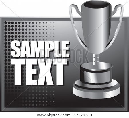 trophy cup on halftone gray horizontal background